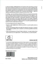 La protection des personnes à l'égard du traitement automatisé des données à caractère personnel dans le cadre du profilage ; recommandation CM/Rec (2010) 13 et exposé des motifs (2011) - 4ème de couverture - Format classique
