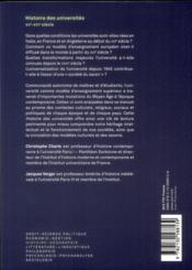 Histoire des universités ; XIIe-XXIe siècle - 4ème de couverture - Format classique