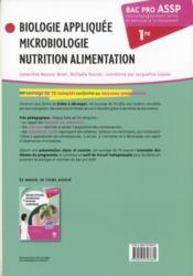 Biologie appliquée, microbiologie, nutrition, alimentation ; 1ère bac pro ASSP ; TD - 4ème de couverture - Format classique
