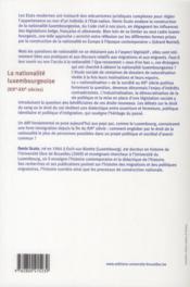 De la nationalite luxembourgeoise (xix -xxxi siecles) - 4ème de couverture - Format classique
