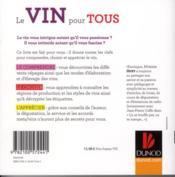 Le vin pour tous ; le comprendre, le choisir, l'apprécier - 4ème de couverture - Format classique