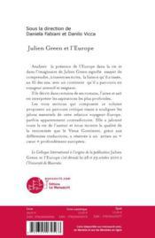 Julien Green et l'Europe - 4ème de couverture - Format classique