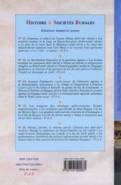 Revue Histoire Et Societes Rurales - 4ème de couverture - Format classique