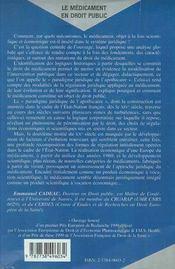 Le Medicament En Droit Public - 4ème de couverture - Format classique