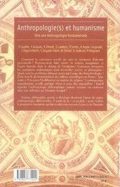 Anthropologie(s) et humanisme ; vers une anthropologie fondamentale - 4ème de couverture - Format classique