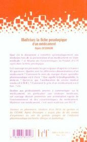 Maitriser La Fiche Posologique D'Un Medicament - 4ème de couverture - Format classique