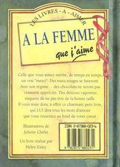 A La Femme Que J'Aime - 4ème de couverture - Format classique