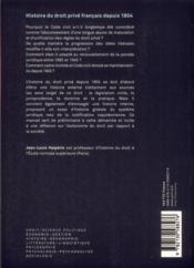 Histoire du droit privé francais depuis 1804 (2e édition) - 4ème de couverture - Format classique