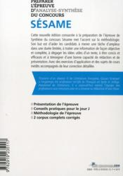 Préparer l'épreuve d'analyse-synthèse du concours Sésame - 4ème de couverture - Format classique