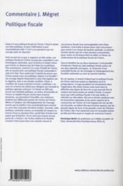 Politique fiscale. volume 1 - 4ème de couverture - Format classique