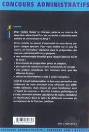 Secretaire Administratif Et Sasu 2e Edition Actualisee Categorie B Concours Externes Et Internes - 4ème de couverture - Format classique