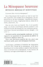 La Menopause Heureuse - 4ème de couverture - Format classique