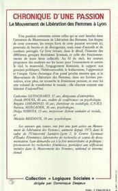 Chronique d'une passion ; le mouvement de liberation des femmes à Lyon - 4ème de couverture - Format classique