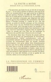 La Faute A Moise ; Essais Sur La Condition Juive - 4ème de couverture - Format classique