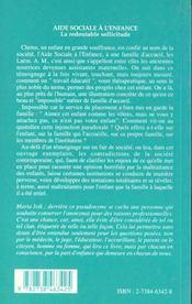 Aide sociale à l'enfance ; la redoutable sollicitude - 4ème de couverture - Format classique