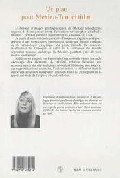 Plan Pour Mexico-Tenochtitlan (Un) Les Representations - 4ème de couverture - Format classique