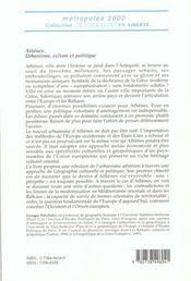 Athenes ; Urbanisme ; Culture Et Politique - 4ème de couverture - Format classique