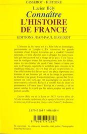 Connaitre L'Histoire De France - 4ème de couverture - Format classique