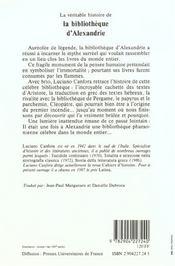 La véritable histoire de la bibliothèque d'Alexandrie - 4ème de couverture - Format classique