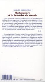 Shakespeare et le désordre du monde - 4ème de couverture - Format classique