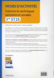 Sciences et techniques sanitaires et sociales ; 1ère ST2S ; pôles 2 et 3 ; TD-TP (3e édition) - 4ème de couverture - Format classique