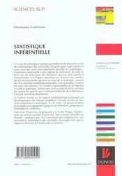 Statistique inferentielle ; 2e cycle ; cours et exercices corriges - 4ème de couverture - Format classique