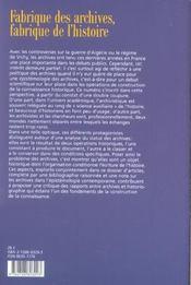 Revue De Synthese N.125 ; Fabrique Des Archives, Fabrique De L'Histoire - 4ème de couverture - Format classique