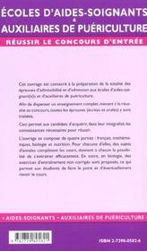 Concours D'Entree Mode D'Emploi Ecoles D'Aides-Soignants Auxiliaires De Puericulture - 4ème de couverture - Format classique