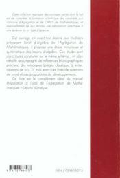 Lecons D'Algebre Preparation A L'Oral De L'Agregation Maths - 4ème de couverture - Format classique