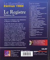 Macmillan Windows 98 Base De Registres - 4ème de couverture - Format classique
