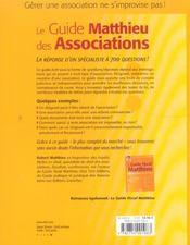 Le Guide Matthieu Des Associations - 4ème de couverture - Format classique