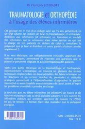 Traumatologie Et Orthopedie A L'Usage Des Eleves Infirmiers - 4ème de couverture - Format classique