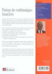 Pratique Des Mathemathiques Financieres - 4ème de couverture - Format classique