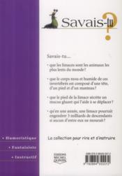 SAVAIS-TU ? T.51 ; les limaces - 4ème de couverture - Format classique