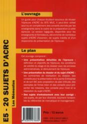 E5 - 20 sujets d'acrc. s'entrainer a l'epreuve d'acrc. presentation de l'epreuve - 4ème de couverture - Format classique