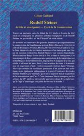 Rudolf Steiner ; artiste et enseignant ; l'art de la transmission - 4ème de couverture - Format classique