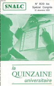 La Quinzaine Universitaire N°820 Bis - Special Congres - Couverture - Format classique