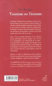 Variations Sur L'Erotisme - 4ème de couverture - Format classique