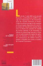 La Loi Sur La Securite Financiere - 4ème de couverture - Format classique