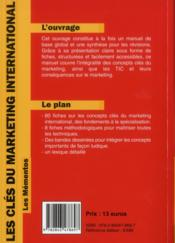 Les clés du marketing international - 4ème de couverture - Format classique