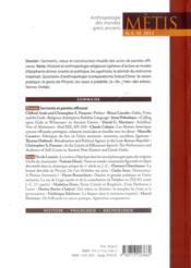 Revue Metis ; 10/2012 ; Serments Et Paroles Efficaces - 4ème de couverture - Format classique