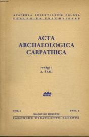 Acta Archeologica Carpathica. Tome I, Fascicule 1. - Couverture - Format classique