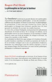 La philosophie ne fait pas le bonheur - 4ème de couverture - Format classique