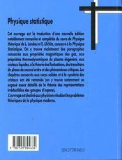 Physique Theorique Physique Statistique - 4ème de couverture - Format classique