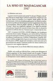 La Sfio Et Madagascar, 1947 - 4ème de couverture - Format classique