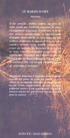 Le Marais D'Orx ; Aquitaine - 4ème de couverture - Format classique