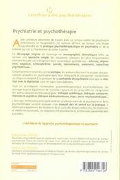 Psychiatrie et psychothérapie ; une approche psychanalytique - 4ème de couverture - Format classique