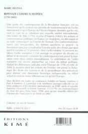 Repenser L'Ordre Europeen (1795-1802) - 4ème de couverture - Format classique