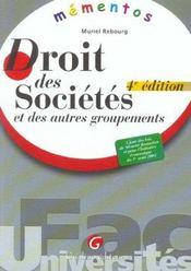 Memento Droit Des Societes Et Des Autres Groupements, 4eme Edition - Intérieur - Format classique