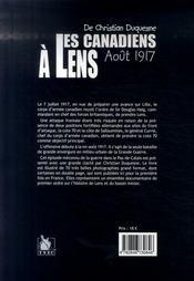 Les Canadiens à Lens en Août 1917 - 4ème de couverture - Format classique